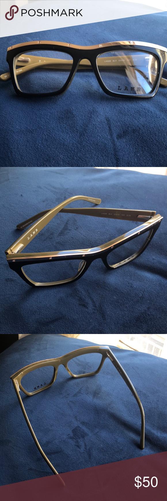 33d95b8f903 L.A.M.B. BY GWEN STEFANI LA028 OPTICAL GLASSES! Black LAMB eyewear.  Metallic gold lining.