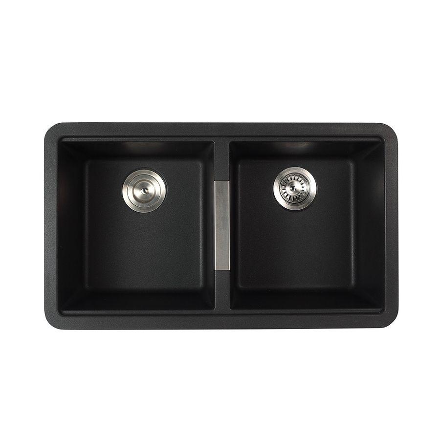 Kraus Kitchen Sink 18.94 In X 32.44 In Black Onyx Double Basin Granite  Undermount Residential Kitchen Sink All In One Ki