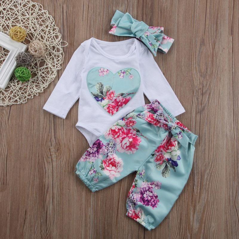 3PCS Newborn Baby Girl Floral Clothes Romper Jumpsuit Bodysuit Long Pants Outfit