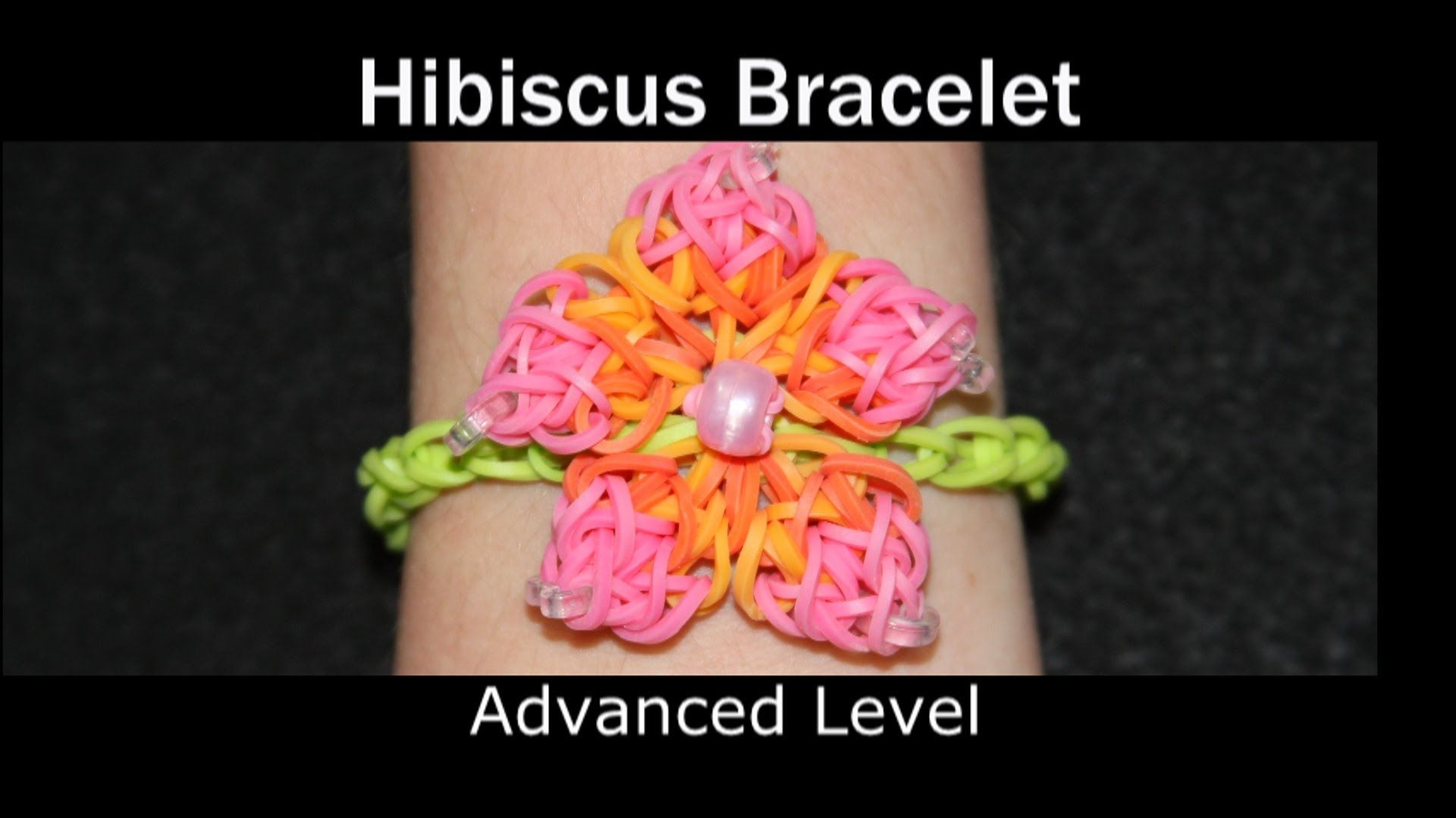 Rainbow Loom Hibiscus Bracelet How To Make A Flower Bracelet Rainbow Loom Designs Rainbow Loom Bands Rainbow Loom Charms