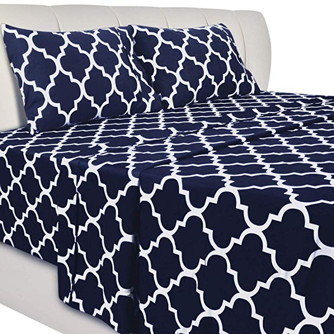 Amazon Com Utopia Bedding 4 Piece Printed Queen Bed Sheet Set Navy Home Kitchen Bed Sheet Sets Utopia Bedding Bed Sheets