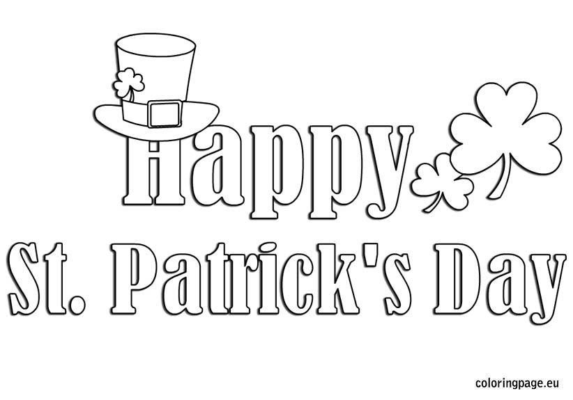 Happy St Patrick S Day Coloring St Patricks Day Clipart