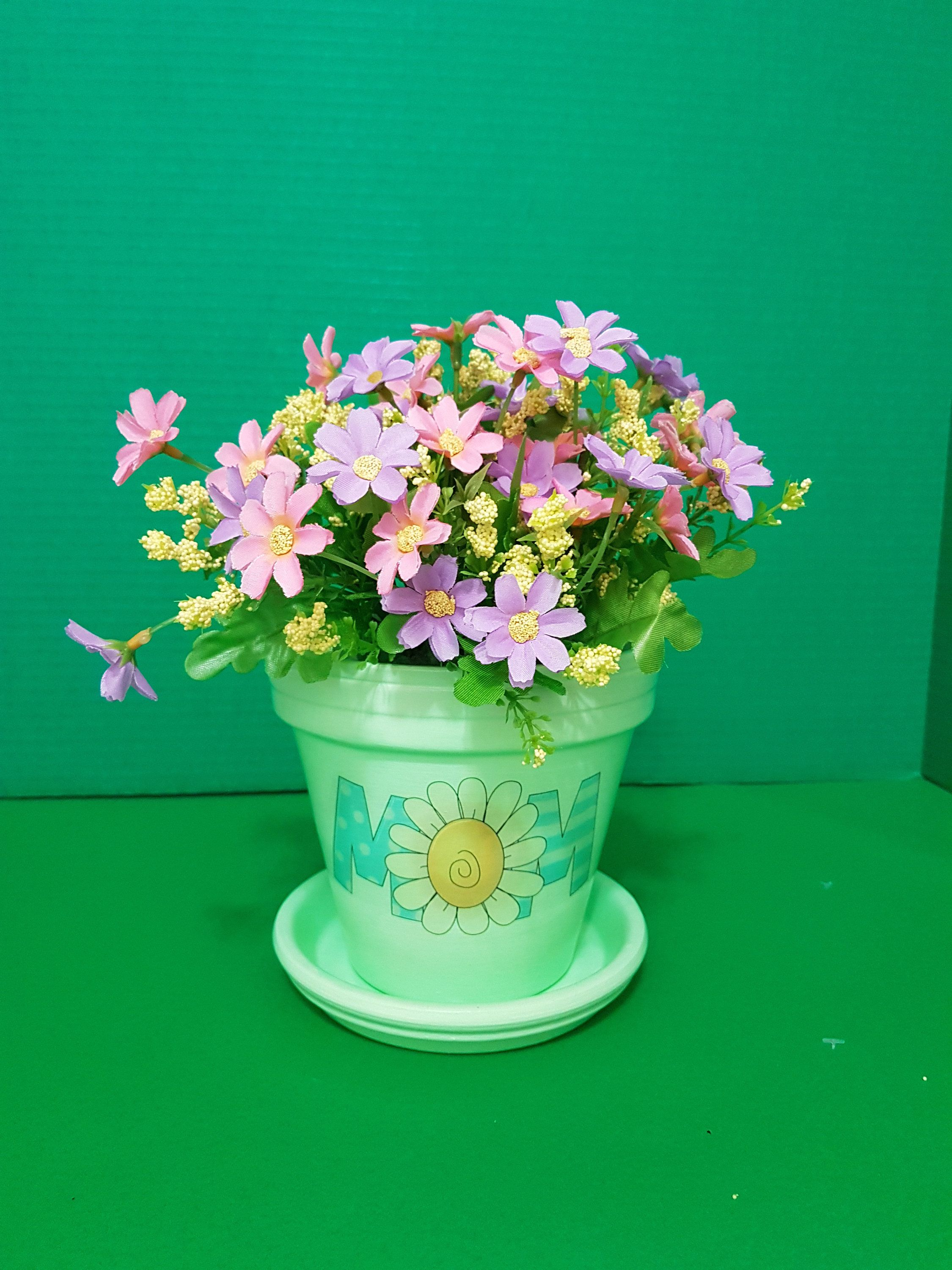 Green Hand Painted Pot, Mother's Day Gift, Home and Garden