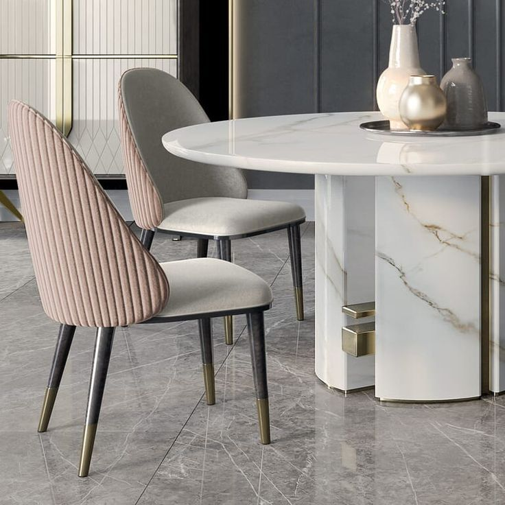 126 Custom Luxury Dining Room Interior Designs: Luxury Italian Designer Contemporary Round Marble Dining