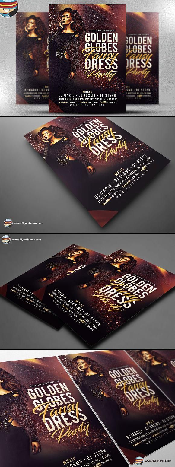 golden globe fancy flyer template flyer flyerdesign template