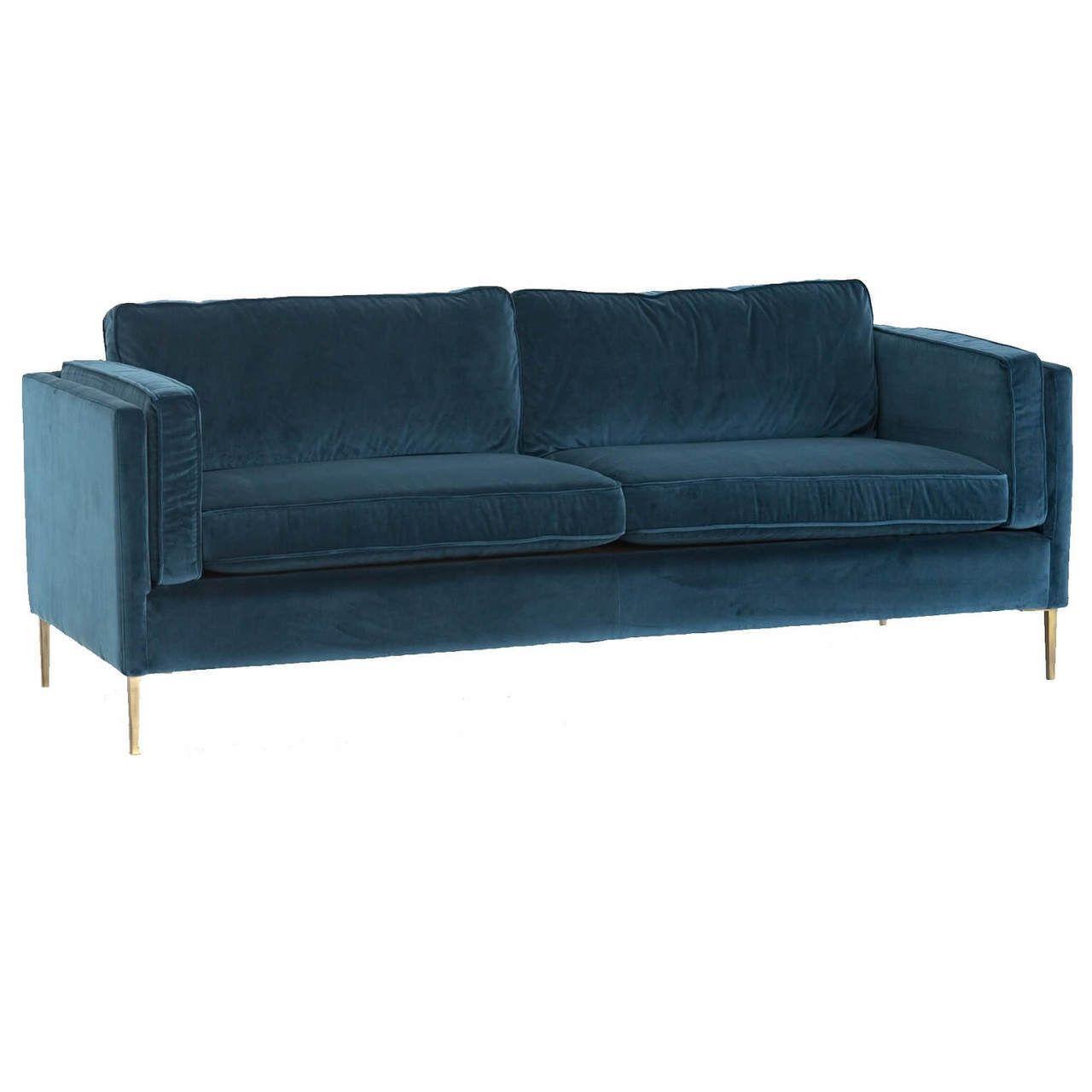 Emery Mid Century Modern Sapphire Velvet Sofa With Brass Legs Velvet Sofa Living Room Modern Leather Sofa Metal Sofa