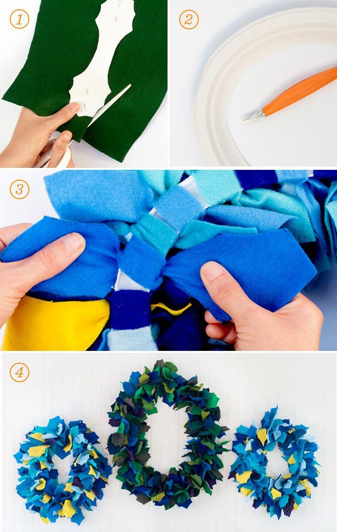 DIY  Paper Plate 15 Minute Christmas Felt Wreath