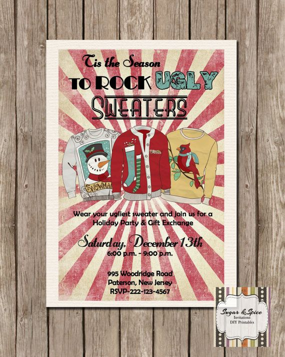 Ugly Sweater Holiday Party Invitation Retro by SugSpcInvitations - holiday party invitation