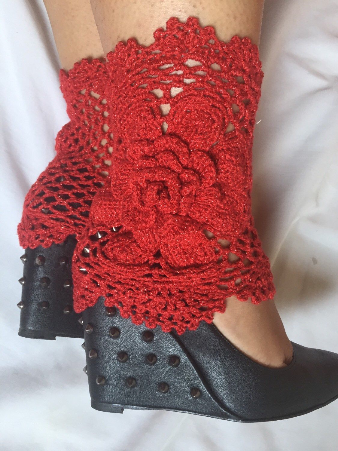 Crochet Burgundy with Gold Metallic Boot Cuffs with Flower, Leg ...