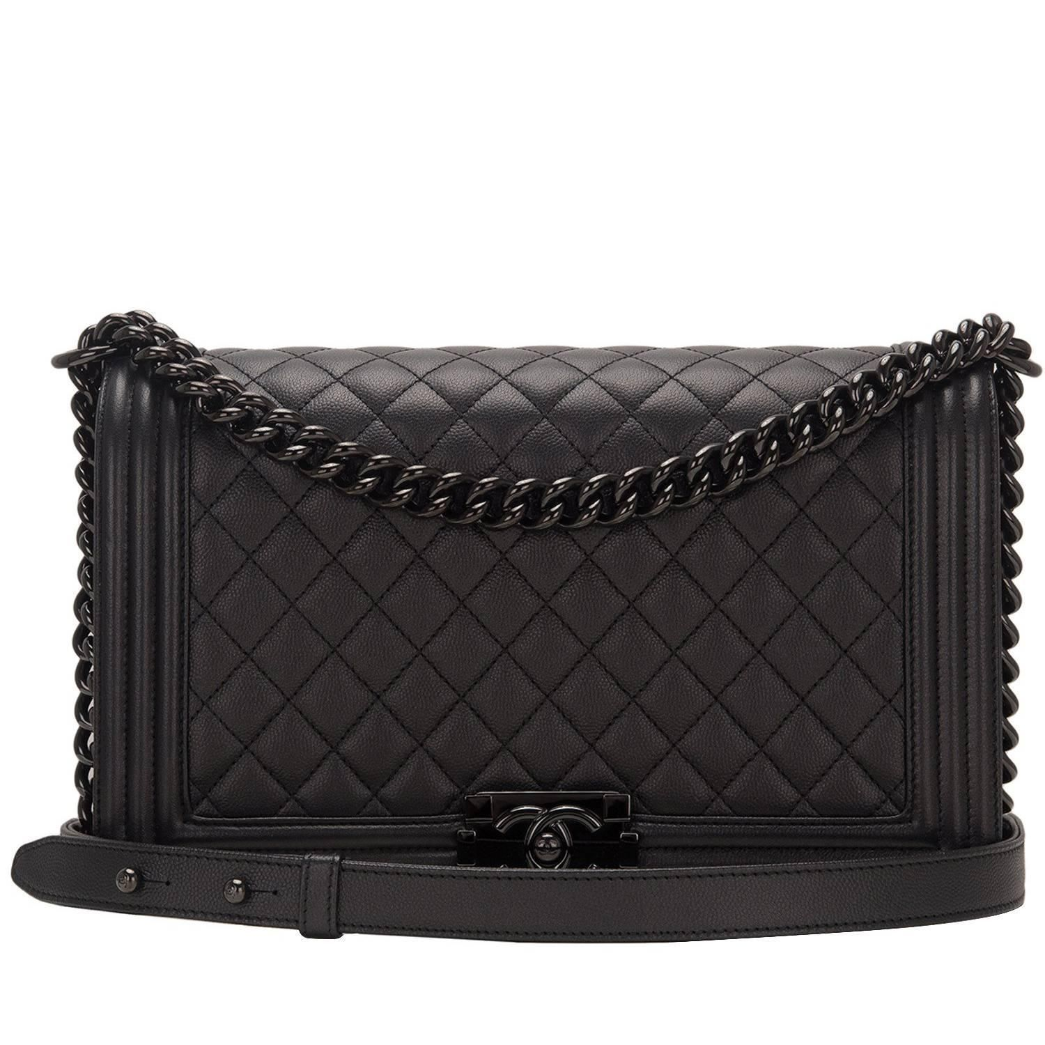 Chanel New Medium So Black Caviar Leather Iridescent Boy Bag ❤ liked on Polyvore  featuring bags 7262b9fbbb134