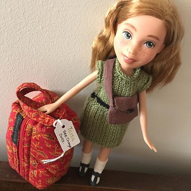 Tessa, our little travelling Tree Change Doll is getting very excited about heading to New York! Borrowed a friend's bag and has been packing already! #excited #treechangedolls #etsyawards