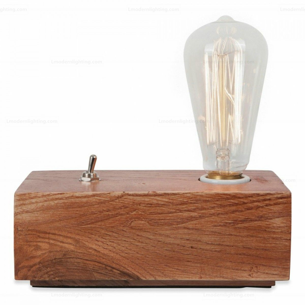 Retro Wood Block Table Lamp Interer Doma Table Lamp Wooden