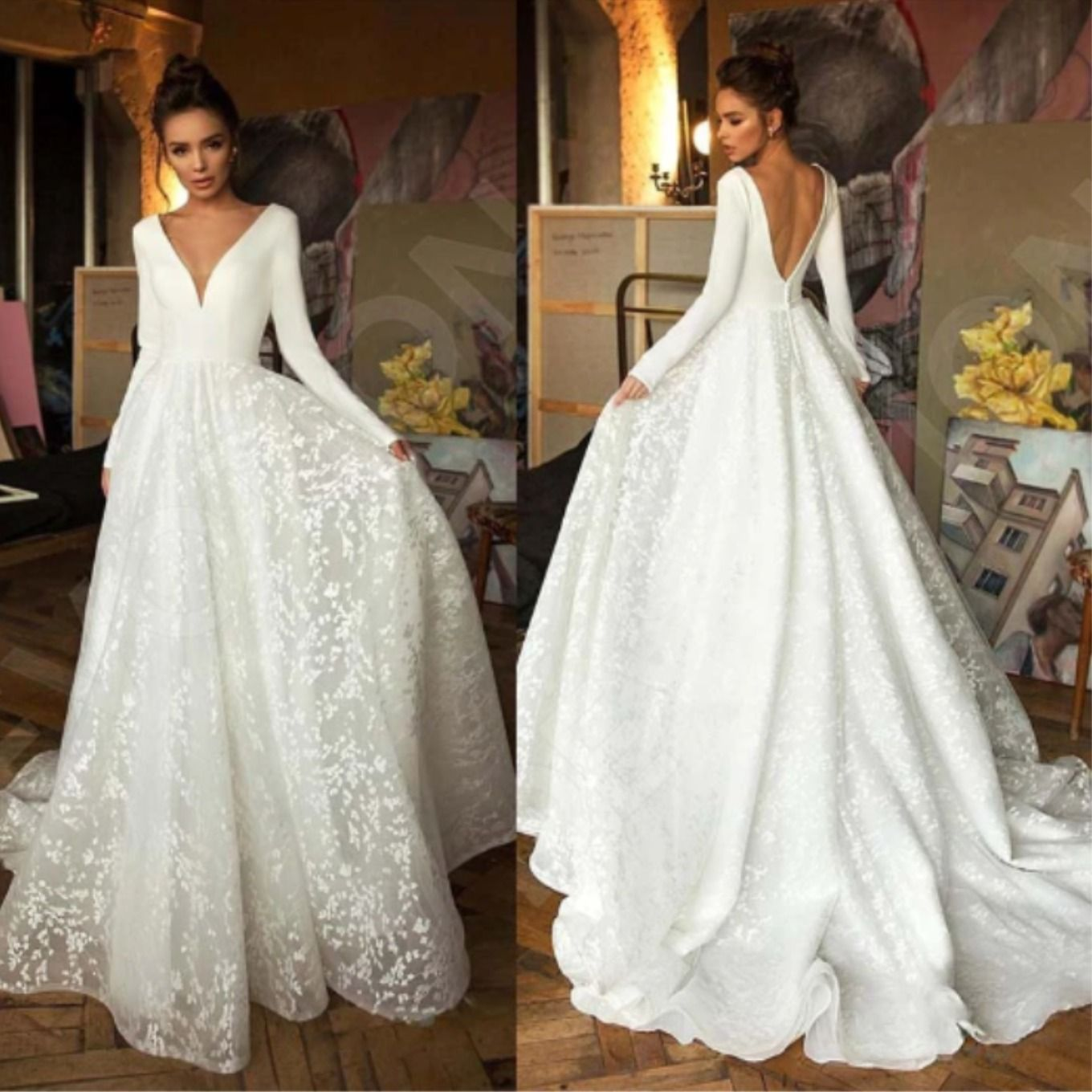 Classy Long Sleeve Deep V Neck Wedding Dress In 2020 Long Sleeve Bridal Dresses Backless Bridal Gowns Wedding Dress Trends