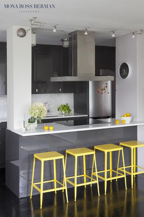 Dark Gray Kitchen Features Glossy Gray Lacquered Flat Front Cabinets - Glossy grey kitchen