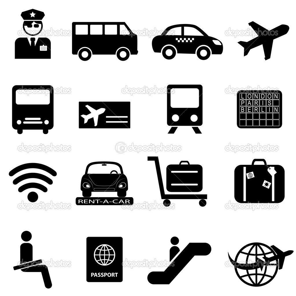 Pictogrammen Vliegveld Pictogrammen Luchthaven Luchthavens