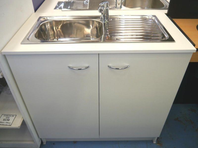 Seytim Builders Kitchen Sink Mixer Cabinet White 900mm Wide