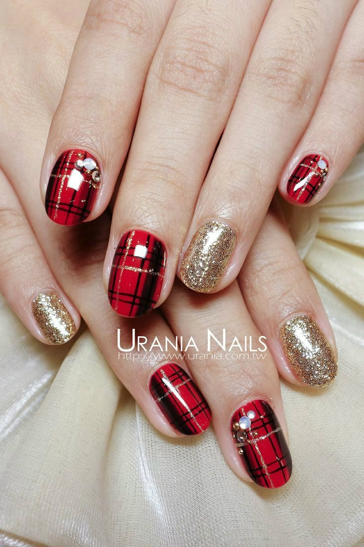 Red And Black Plaid Mani With Rhinestones And Gold Glitter Accent