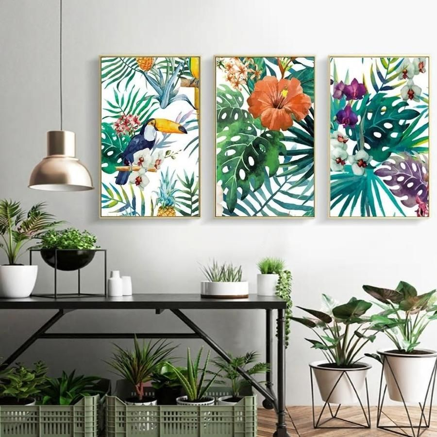 Gallery Wall Trio Of 3 Bright Tropical Art Prints Tropical Home