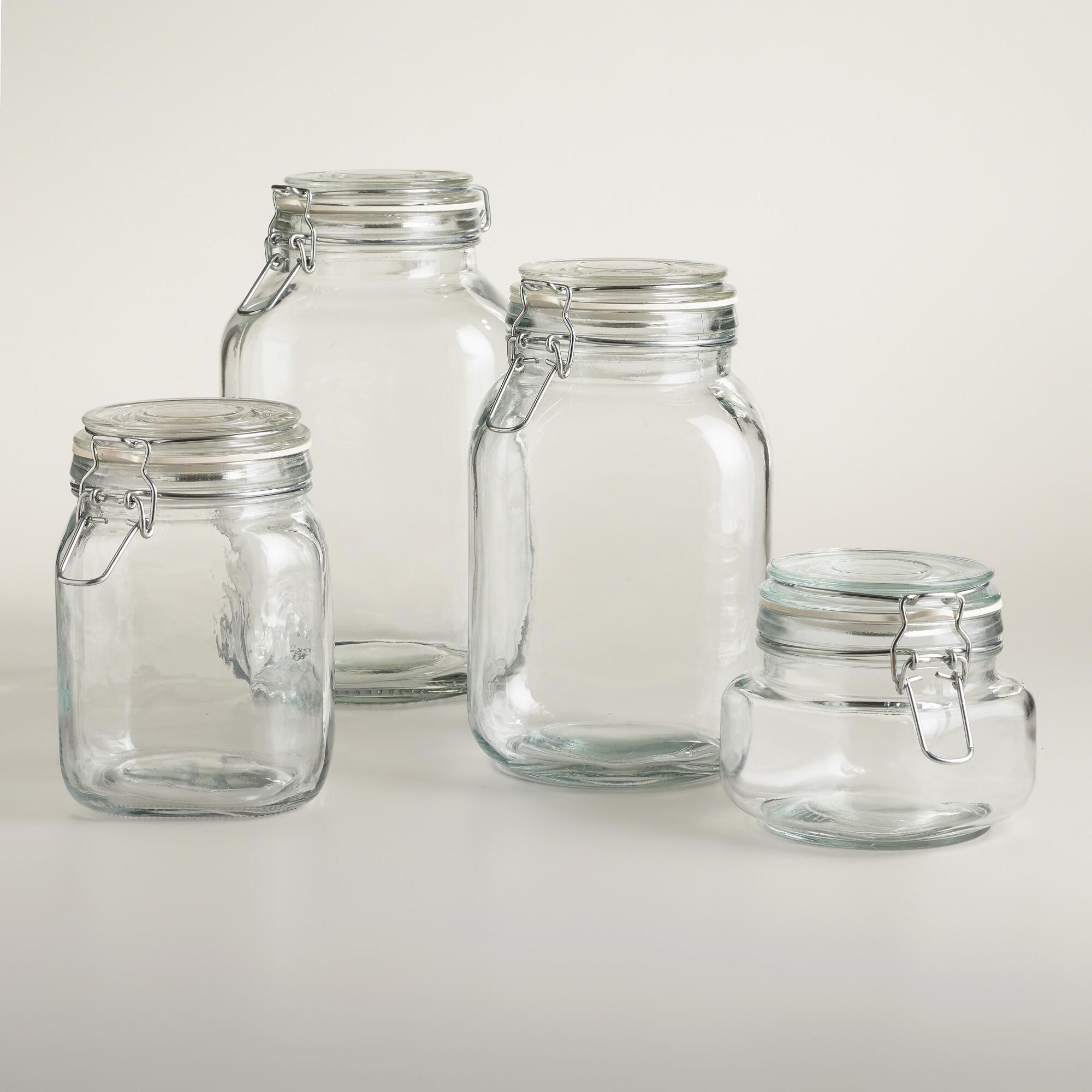 Round Glass Jars With Clamp Lids World Market Interiors Glass