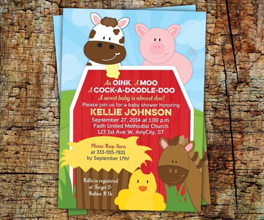 Details about Farm Barnyard Baby Shower or Birthday Invitations ...