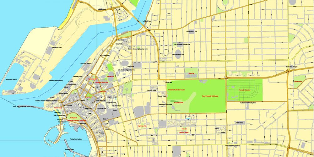 pdf map perth australia exact vector street city plan map v309 full editable adobe pdf full vector scalable editable text format of street names