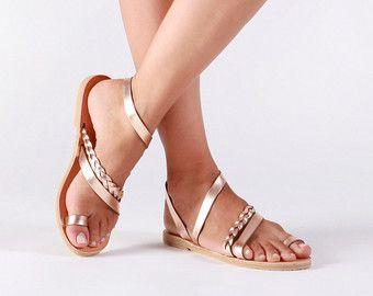 Greek leather sandals, Women sandals, Leather sandals women, Gladiator  sandals, Rose gold sandals, Wedding sandals, SERENADE