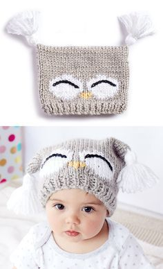 Free Knitting Pattern for I'm a Hoot Hat - This pattern for an owl baby hat comes with a free video tutorial. Sizes: 6-12 months and 18-24 months. Designed by Bernat. #strickanleitungbaby