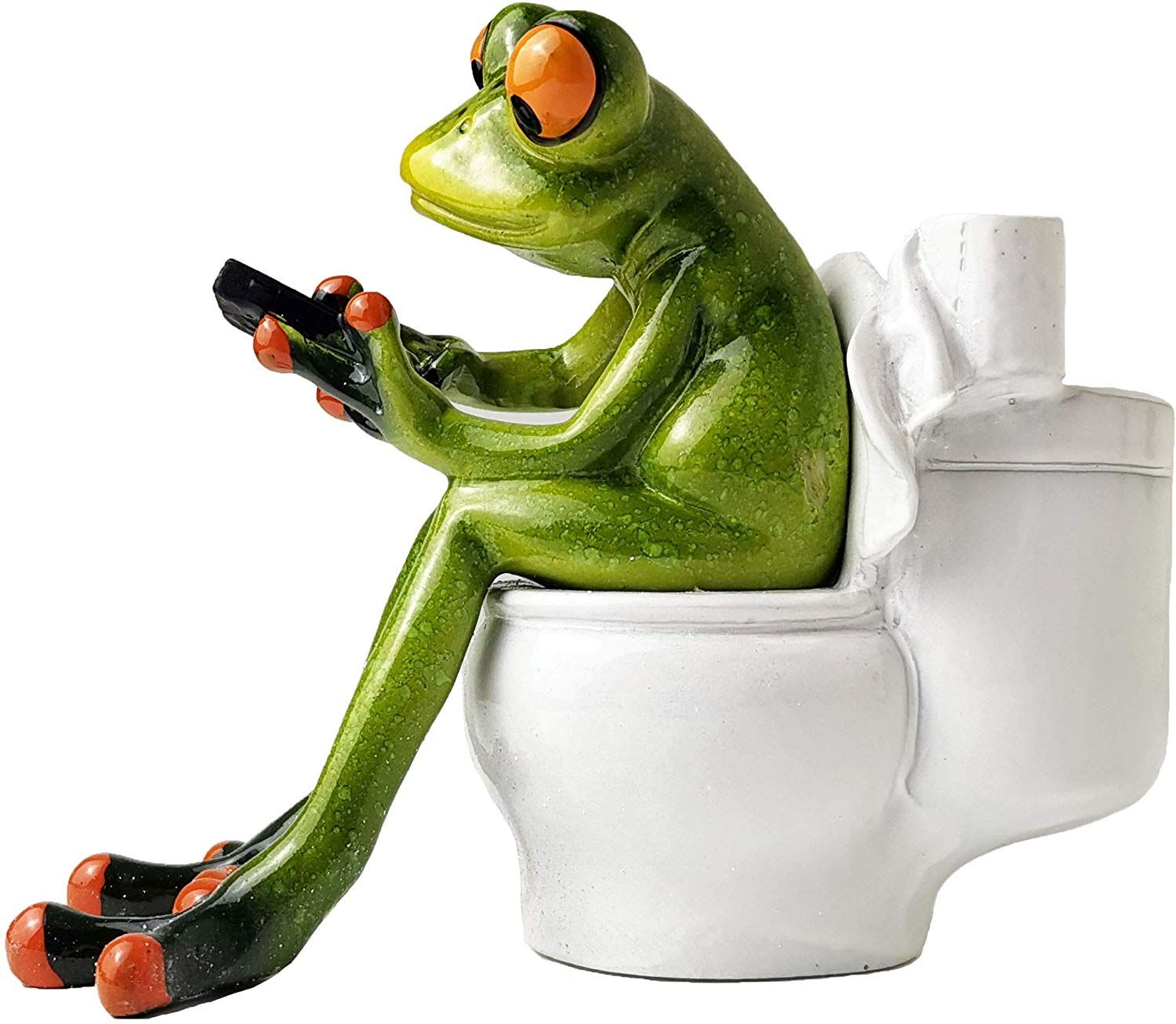 Adorable Red Eyed Tree Frog Sitting On Toilet And Texting Funny Red Eyed Tree Frog Frog Sitting Funny Decor
