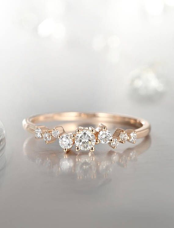 Diamond Cluster Ring Twig Engagement Ring Floral Unique Wedding