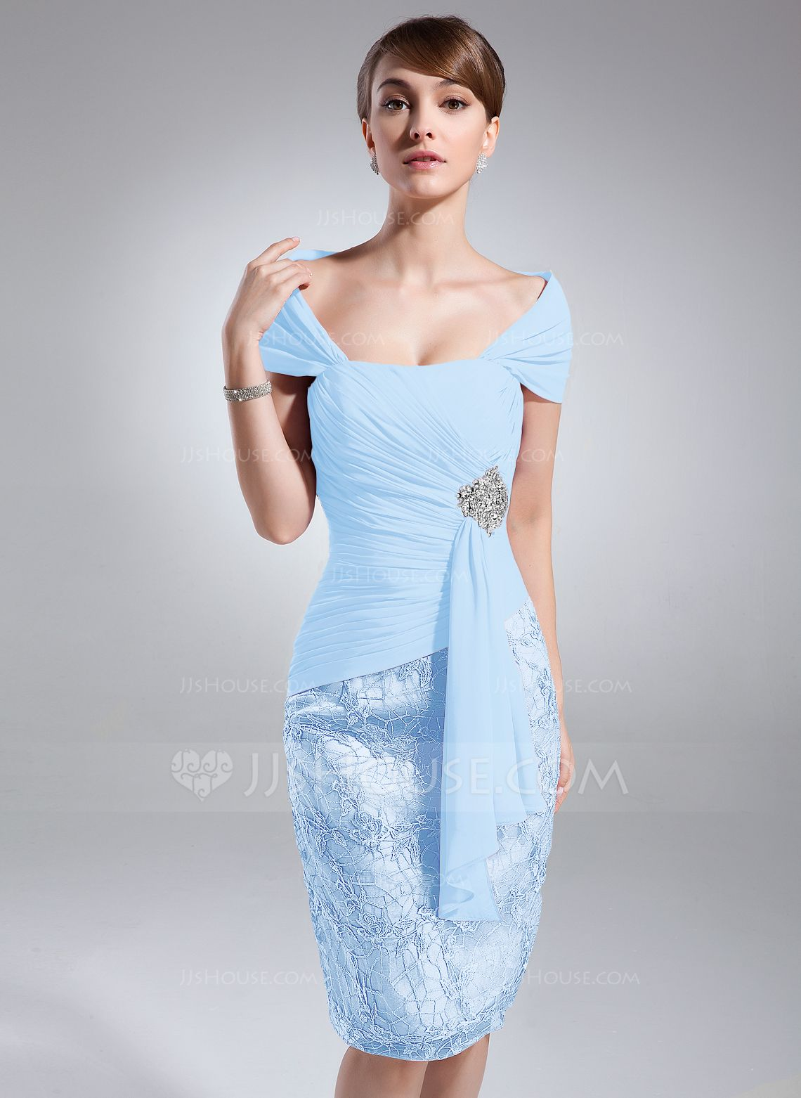 Fashion dress for wedding party  SheathColumn OfftheShoulder KneeLength Chiffon Lace Mother of