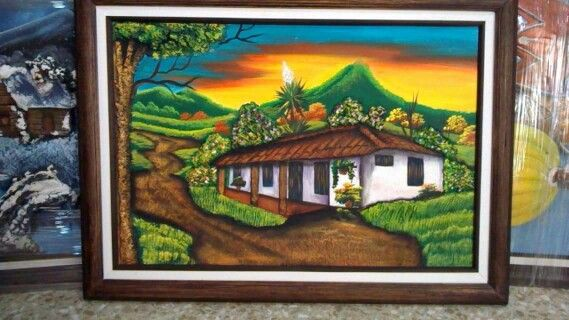 Cuadro cuadros en relieve painting art y house landscape - Cuadros con relieve modernos ...