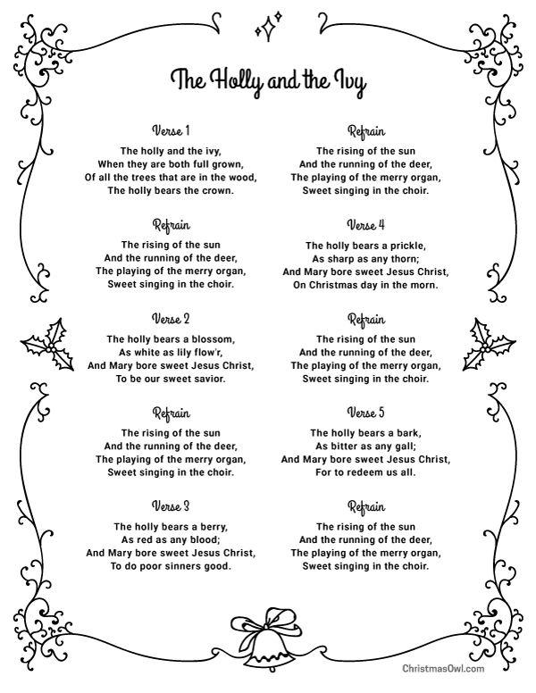 Free printable lyrics for The Holly and the Ivy. Download