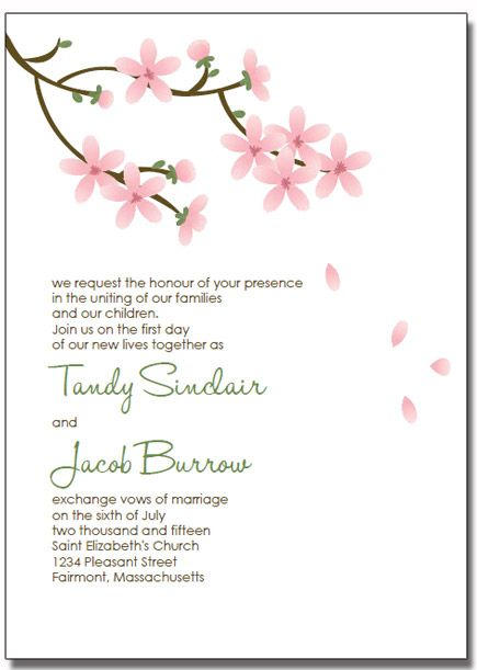 Printable apple blossom wedding invitations DIY printable - downloadable invitation templates
