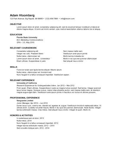 Download Free Template Internship Resume Resume Examples