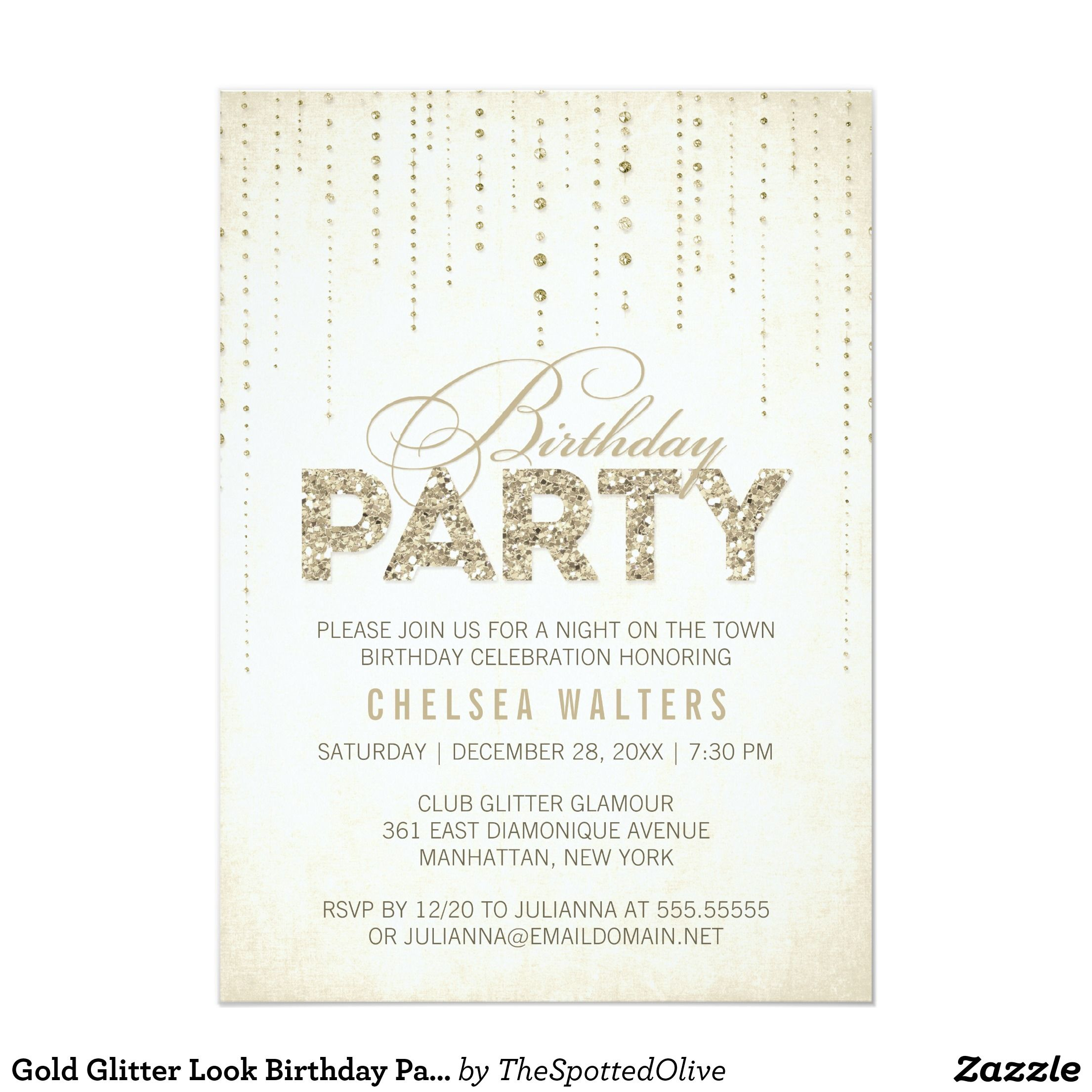 Gold glitter look birthday party card gold glitter and birthdays gold glitter look birthday party 5x7 paper invitation card filmwisefo Image collections