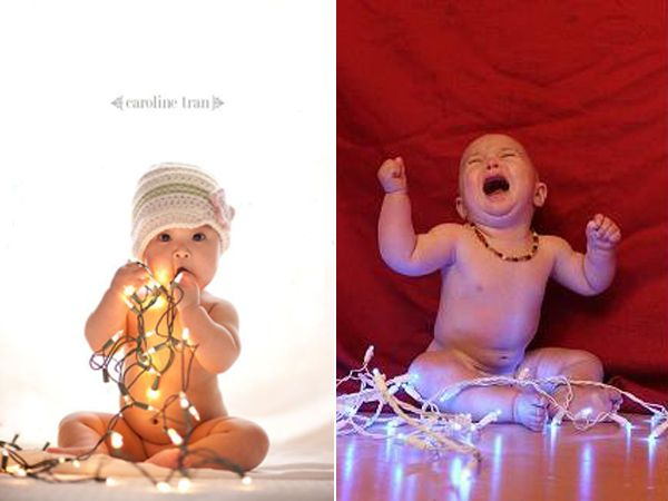 Festive Twinkle Light Baby Photos Produce A Memorable Christmas Card.  #pinterestfail