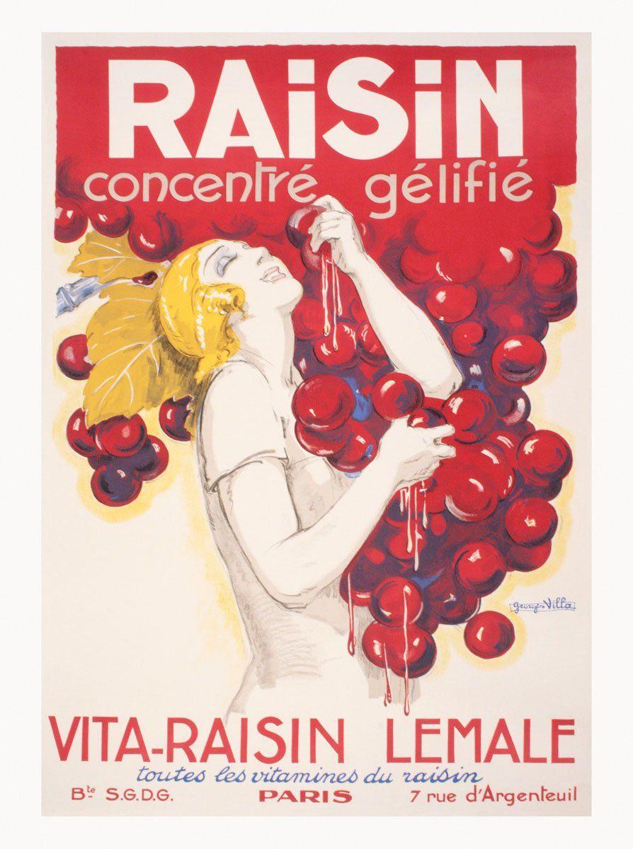 Raisin Concentre Gelifie Vintage Food Posters Wine Poster Vintage Advertising Posters