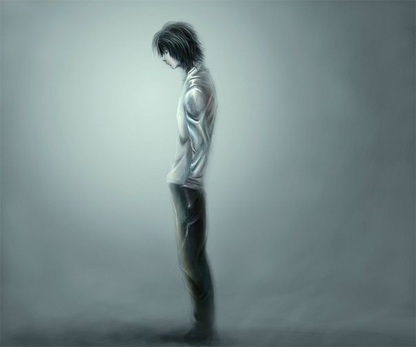L standing in the rain...L Lawliet Standing