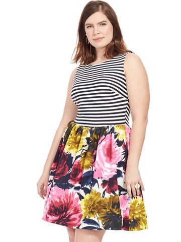 Plus Size TAYLOR DRESSES Floral Dress With Striped Top