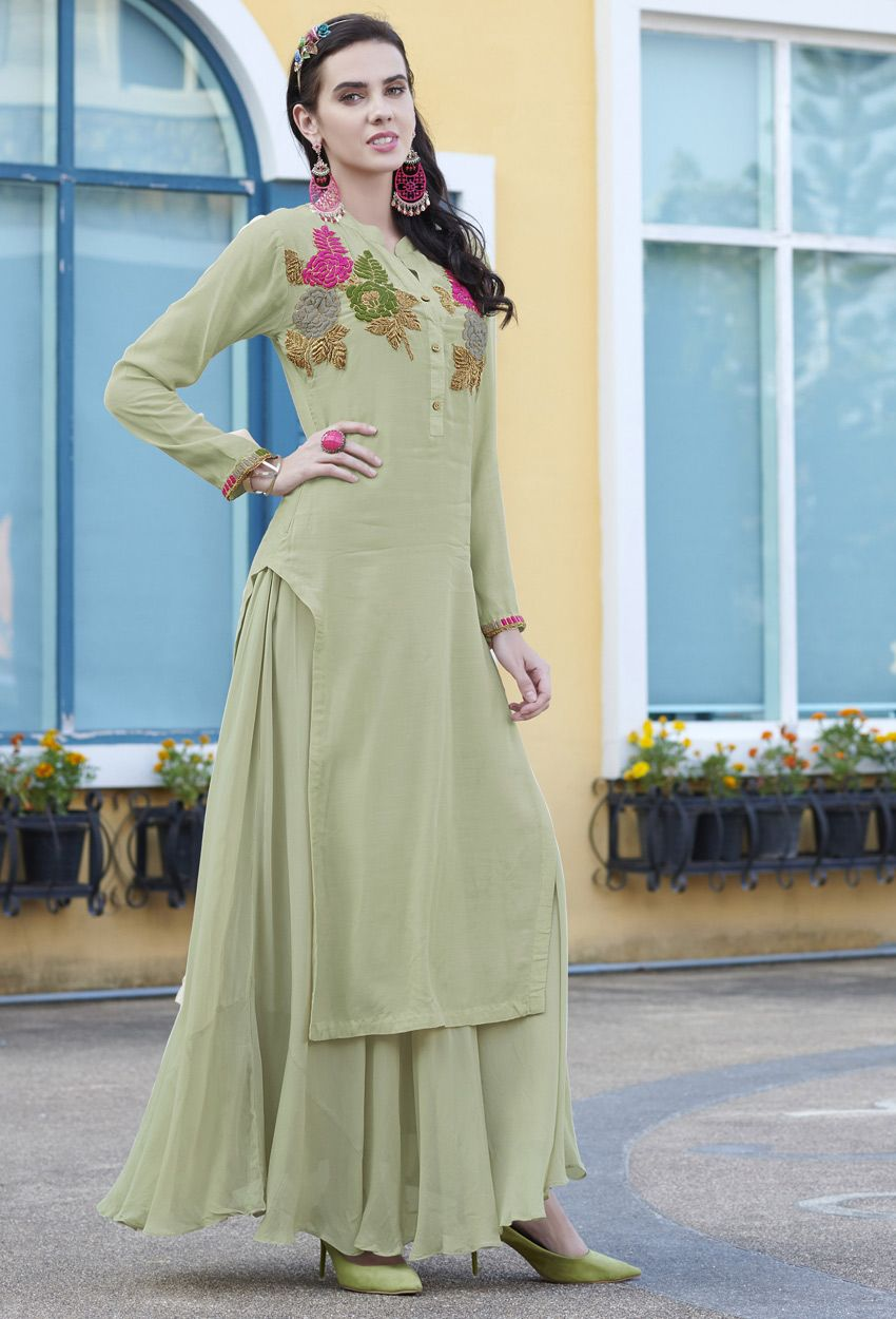Readymade cotton embroidered long kurti in light green in