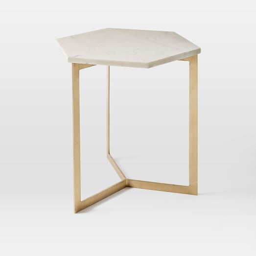 Marble And Gold Margaux Laptop Table: Hex Side Table – Antique Brass