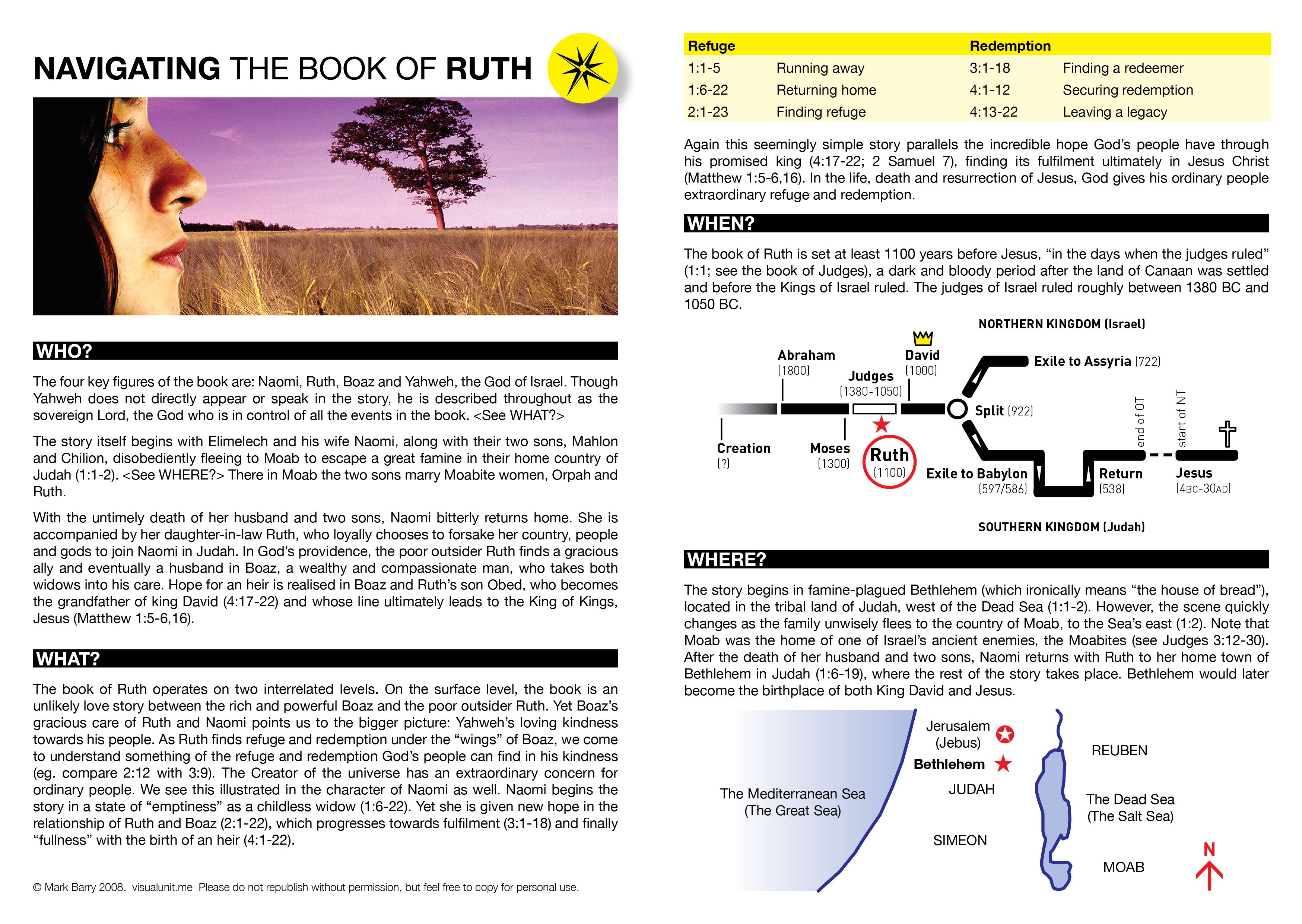 A basic introduction to the book of Ruth: Who? What? When? Where? PDF version(464 KB)