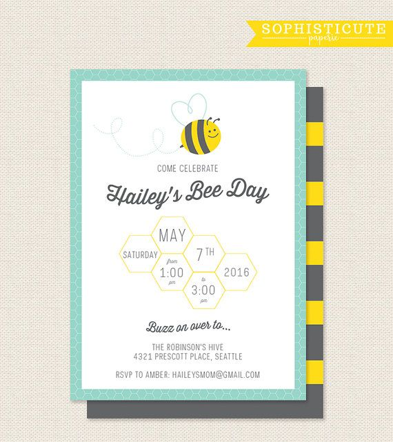 bumble bee birthday party invite
