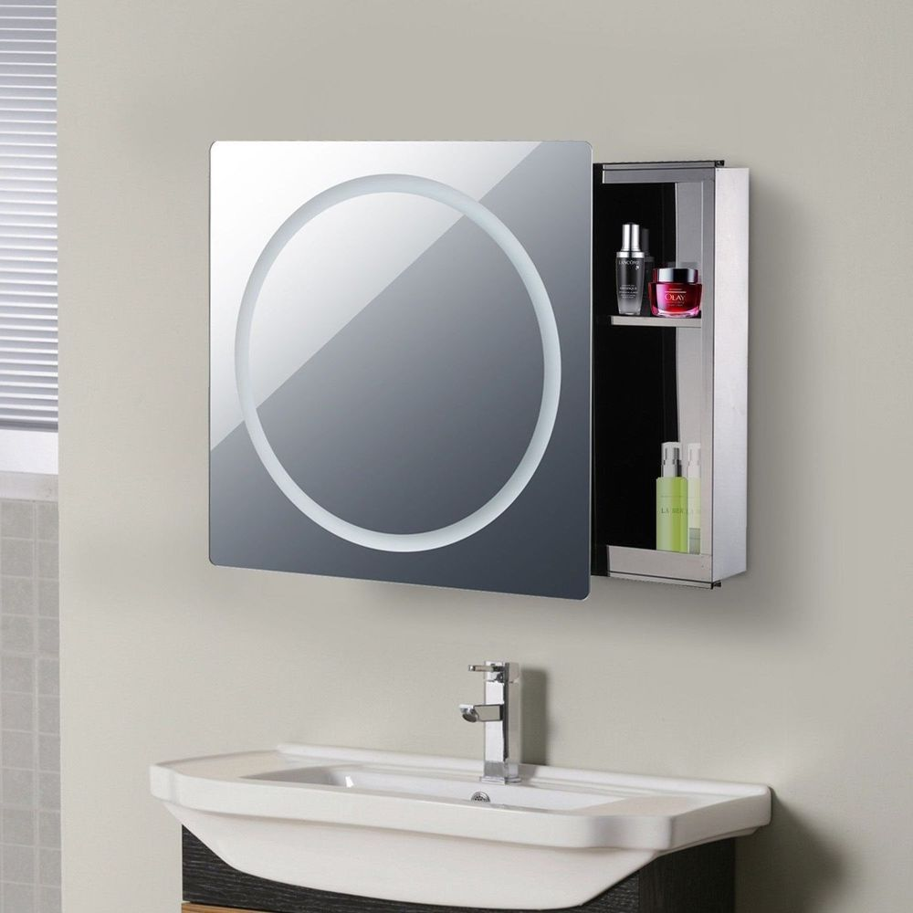 Bathroom Mirror Cupboard With LED Light Lamp Wall Cabinet Makeup ...