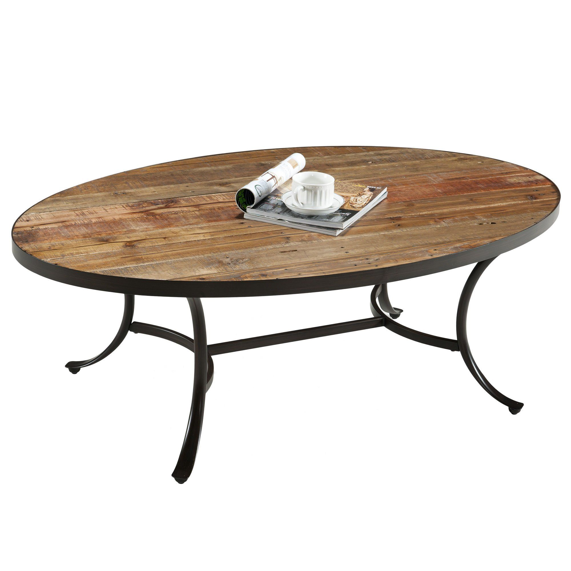 Modhaus Living Country Style Reclaimed Wood Top Oval Shaped Cocktail Coffee Table Metal Reclaimed Wood Cocktail Table Coffee Table Wood Oval Wood Coffee Table [ 2000 x 2000 Pixel ]