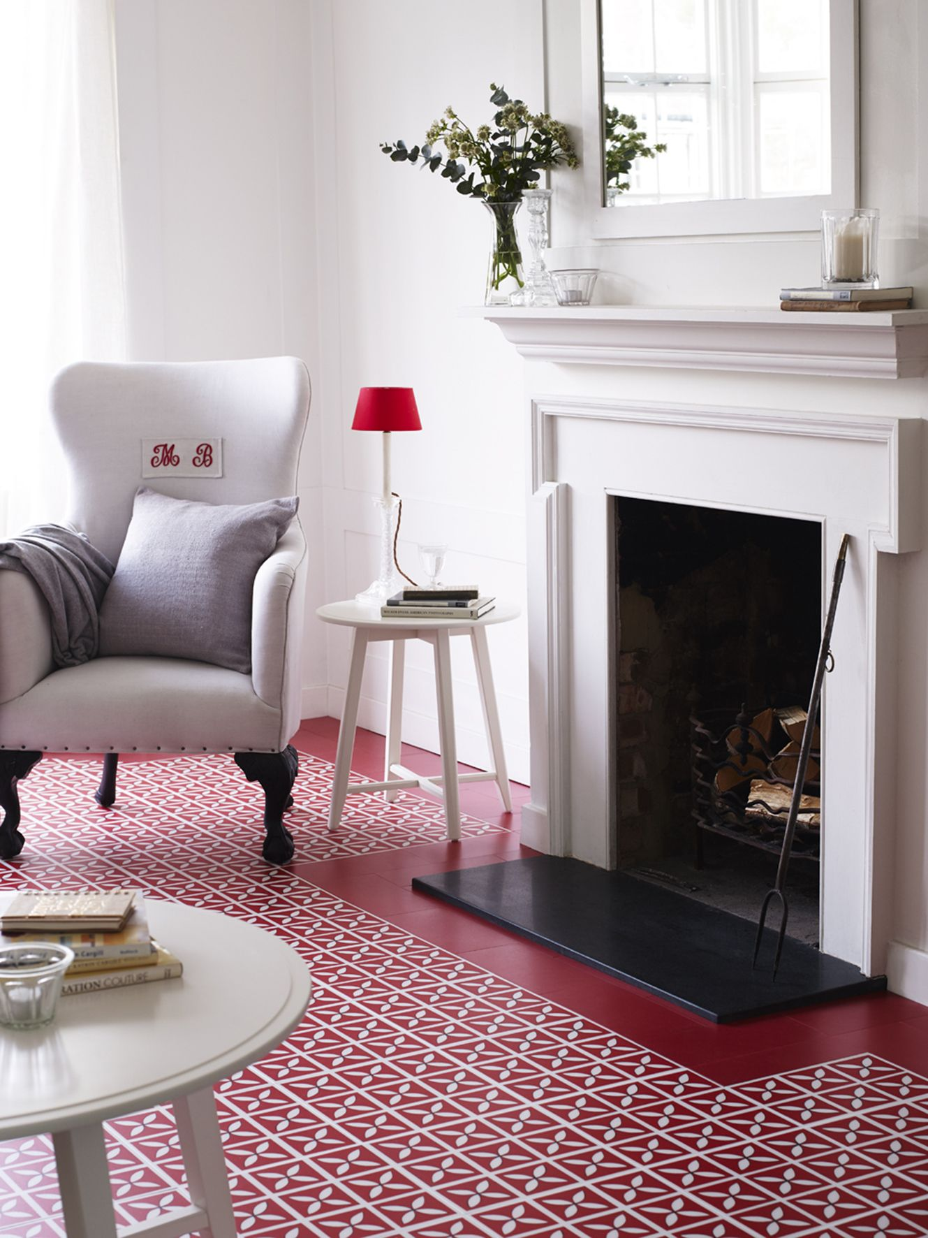 Create A Statement In Homes With Harvey Marias Beautifully Vibrant Red Vinyl Floor Tiles