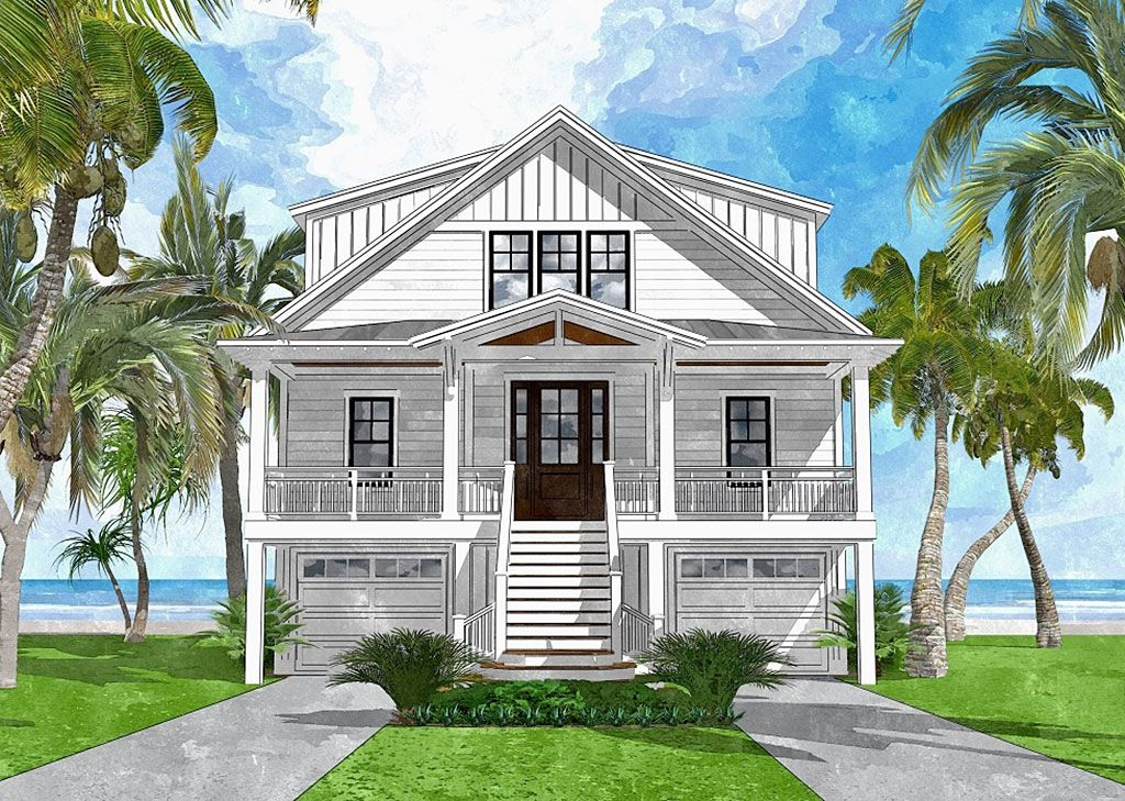 Bowfin Channel (With images) | Beach house plans, Coastal house ...