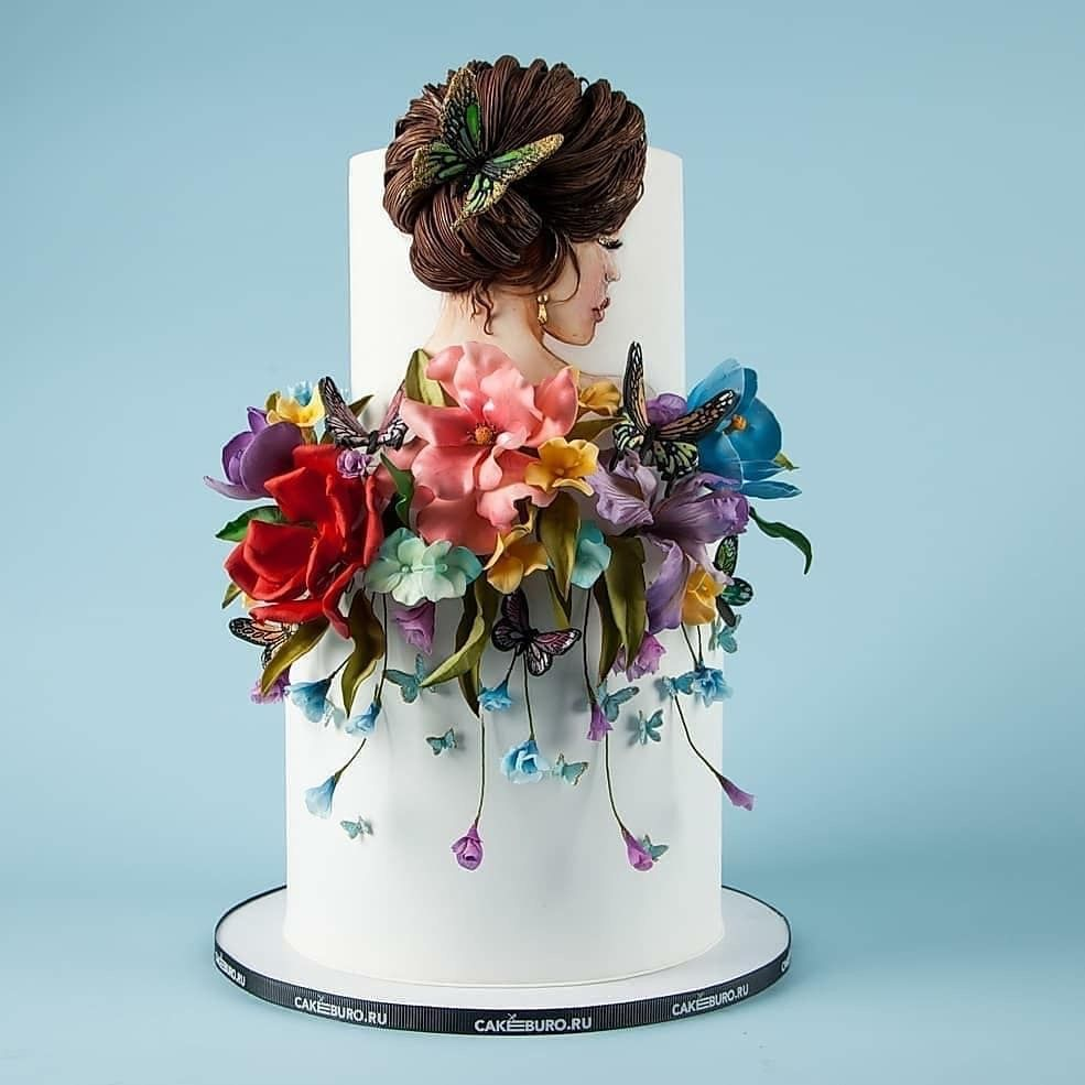 Gumpaste Flowers For Wedding Cakes: Wedding Cake With Sugar Flower Cake Toppers In 2020