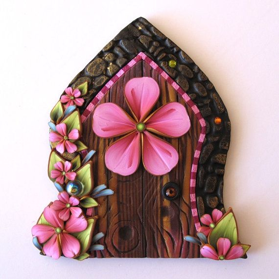 A private entrance for your fairies... Pink Flower Fairy Door Pixie Portal Fairy Garden by Claybykim