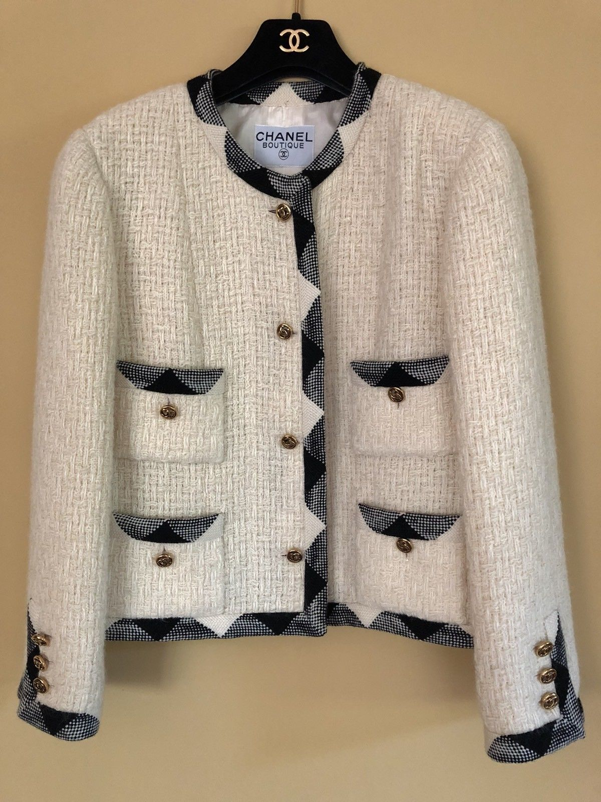 3848a6975 CHANEL tweed jacket Cream Black trim CC Logo Buttons. Sz 42 | eBay